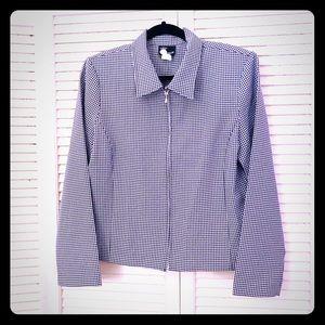 👒NEW👒EUC VTG gingham print zip-up blazer